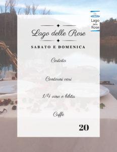 menu Pranzo o cena al Lago delle Rose 14-15 Luglio
