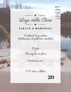 menu Pranzo o cena al Lago delle Rose 21-22 luglio