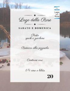 Locandina con menu Pranzo o Cena al Lago delle Rose il 26-27 maggio